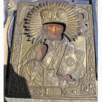 Икона Николай Угодник, аналой, латунный оклад, 19 век